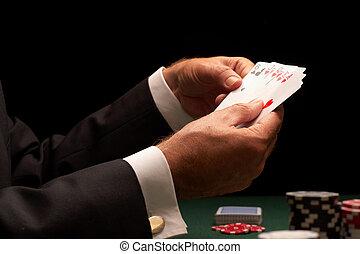 포커, 선수, 노름하는, 카지노는 잘게 썰n다