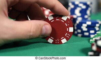포커 칩, 빨강, 손