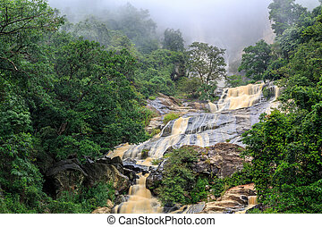 폭포, 에서, 그만큼, 바위가 많은, 언덕, 의, 스리랑카