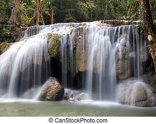 폭포, 에서, erawan national park, kanchanaburi