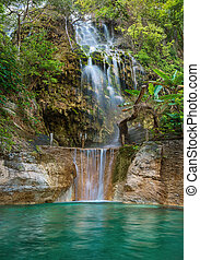 폭포, 에서, tolantongo, .grutas, tolantongo, hidalgo., 멕시코