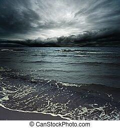 폭풍우다, 구름, 위의, 암흑, 대양