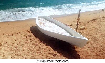 폭풍우다, 목선, 비디오, 4k, 바다, 백색 바닷가, 일, 모래의