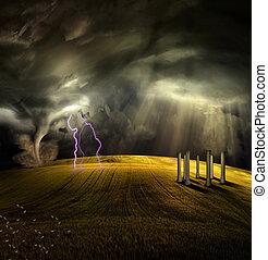 폭풍우다, 사원, 조경술을 써서 녹화하다