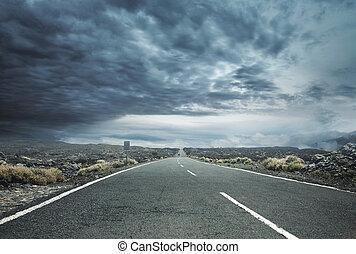 폭풍우 하늘, 길, 이상, 시골, 빈 광주리