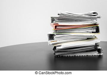 폴더, 테이블, 문서, 스택, 사무실