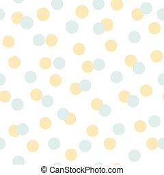 폴카, 여름, 배경., 패턴, geomteric, 벡터, 황색, 점, 명란한, seamless