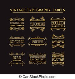 표제, 벡터, 세트, 훈장, calligraphic