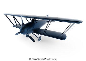 표현된다, 3차원, 백색, 장난감 비행기