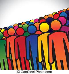 표현한다, 문자로 쓰는, 개념, 그룹, 학생, 다채로운, 사람, 형성, 떼어내다, 아이콘, -, 직원, 또는...