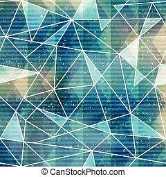 푸른 삼각형, seamless, 패턴, 와, grunge, 효과
