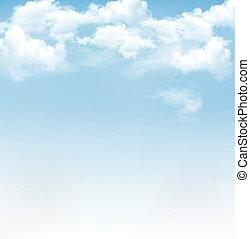 푸른 하늘, 와, clouds., 벡터, 배경