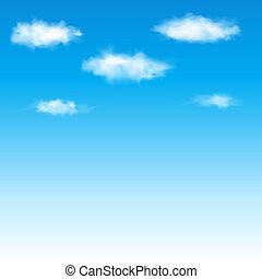푸른 하늘, 와, clouds., 벡터, illustration.