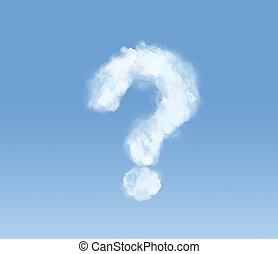 푹신한 구름, 에서, 그만큼, 형태, 의, a, 물음표