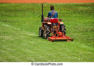 풀을 깎는 것, 남자, 잔디 깎는 사람