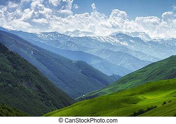 풍경, 여름, alpine., 고지, 목초지, 산, georgia., 자연, 명란한, range., 녹색, day., 은 구역수색한다, 놀랄 만한, 산, svaneti, 덮는, 풀, mountain., 조경술을 써서 녹화하다, 언덕