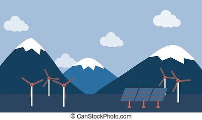 풍력 터빈, 와..., 태양 전지판, 에서, 시골