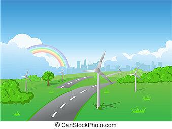 풍력 터빈, 통하고 있는, 녹색 잔디