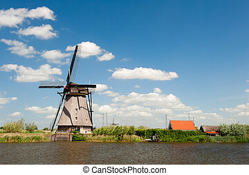 풍차, 조경술을 써서 녹화하다, 에, kinderdijk, 그만큼, 네덜란드