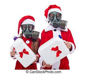 플라스틱, 선물, 치고는, 크리스마스, -, 환경, 개념