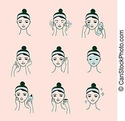 피부 관리, 일과, 여성 얼굴, 와, a, 다른, 얼굴 마사지, 과정, 기치