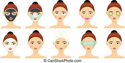 피부 관리, routine., 여자, 제작, 얼굴 가면, 눈 헝겊 조각, 입술, 반점, 와..., 다른, 아름다움, 얼굴, 치료