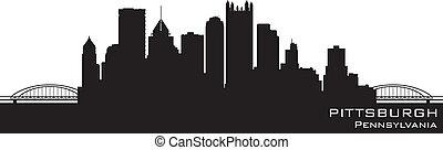 피츠버그, 펜실베니아, skyline., 상술된다, 벡터, 실루엣