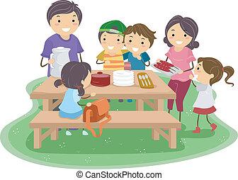 옥외, 피크닉, 가족 파티, 테이블, 식사 - 모임, 옥외, 가족, 함께 ...