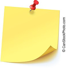 핀으로 꼿는, 스티커, 황색, 누름단추, 빨강
