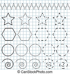 필적, 연습, sheet., 교육적인, 아이들, game., printable, worksheet, 그림,...