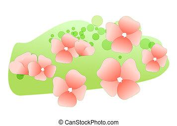 핑크, 강포한 꽃, 통하고 있는, 그만큼, 잔디
