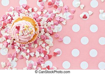핑크, 거의, 서리로 덥음, 컵케이크