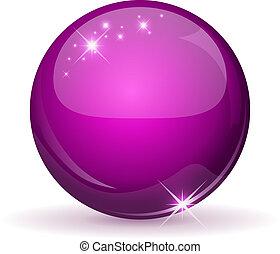 핑크, 광택 인화, 구체, 고립된, 통하고 있는, white.