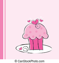 핑크, 귀여운, 컵케이크