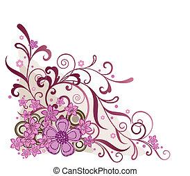 핑크, 꽃의, 구석, 디자인 요소
