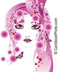 핑크, 꽃의, 소녀