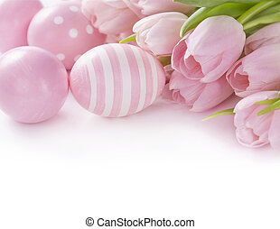핑크, 부활절 달걀, 와..., 튤립