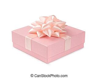 핑크, 선물, 와, 리본, 와..., 활, 고립된, 백색 위에서, 배경