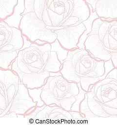 핑크, 아우트라인, 장미, 백색 위에서, seamless, 패턴