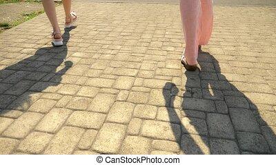 핑크, 여름, 위로의, 유행, 구두, 가죽, 보행자, concept., platform., 소녀의 것, 걷다...
