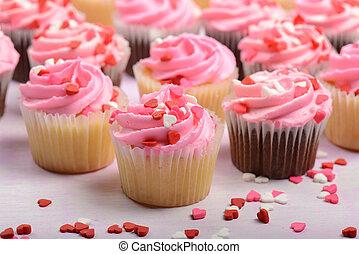 핑크, 연인 날, 컵케이크