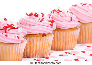 핑크, 연인 날, 컵케이크, 와, 소량