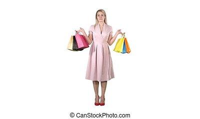 핑크, 은 자루에 넣는다, 쇼핑하고 있는 여성, 서 있는, 배경., 백색 복장