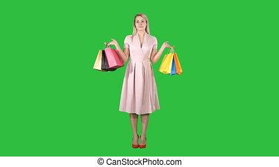 핑크, 은 자루에 넣는다, 쇼핑하고 있는 여성, chroma, 서 있는, 녹색, key., 스크린, 의복