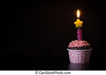 핑크, 컵케이크, 암흑, 생일, 배경, 양초