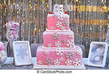 핑크, 케이크, 소녀, 생일