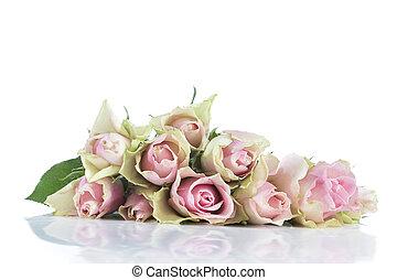 핑크, 크게, 꽃다발, 장미