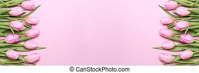 핑크, 튤립, 통하고 있는, 그만큼, 핑크, 배경., 바람 빠진 타이어, 위치, 정상, 보기., 연인, 배경.
