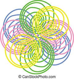 핑크, 파랑 꽃, 떼어내다, 벡터, 황색, 녹색