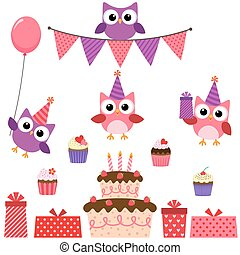 핑크, 파티, 세트, 올빼미